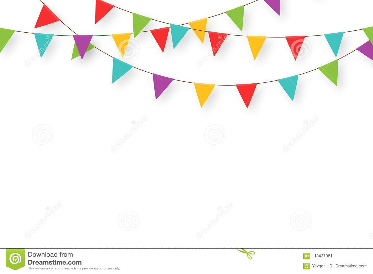 Carnival Garland With Flags. Decorative Colorful Party ...