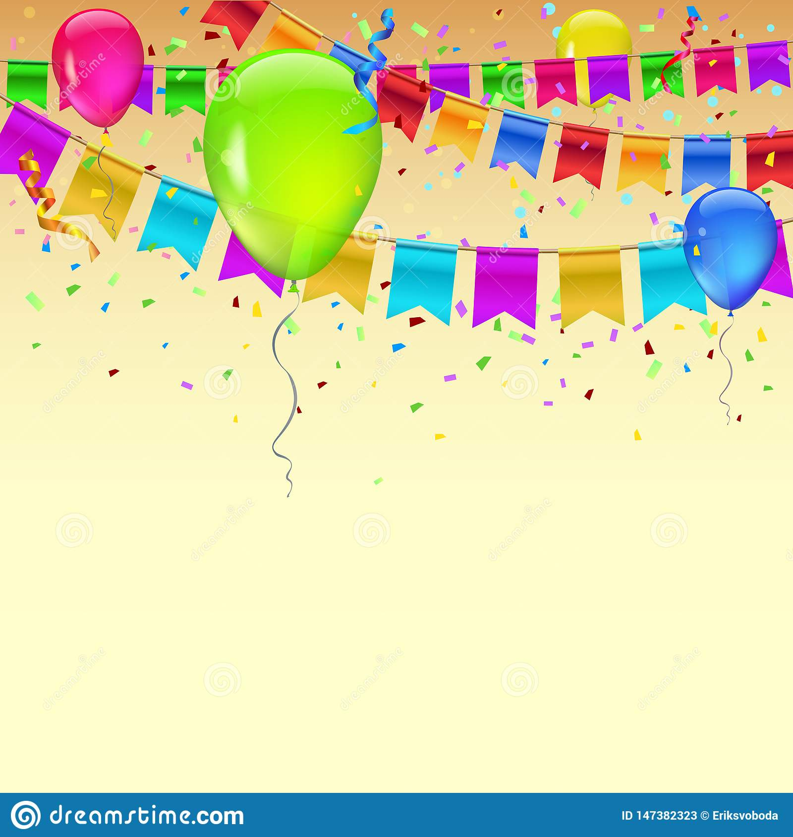 Carnival garland with pennants, confetti and flying balloons. Decorative colorful flags for birthday, festival and fair