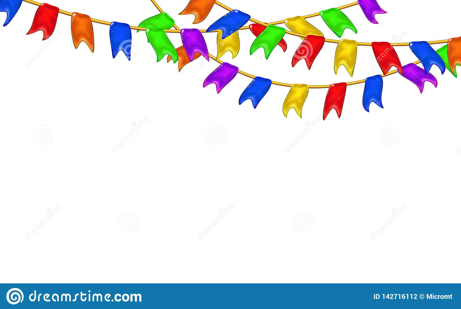 Carnival garlands flags decorative multicolor, 3d caramel glossy little pennants hanging by rope. Realistic plastic toy for