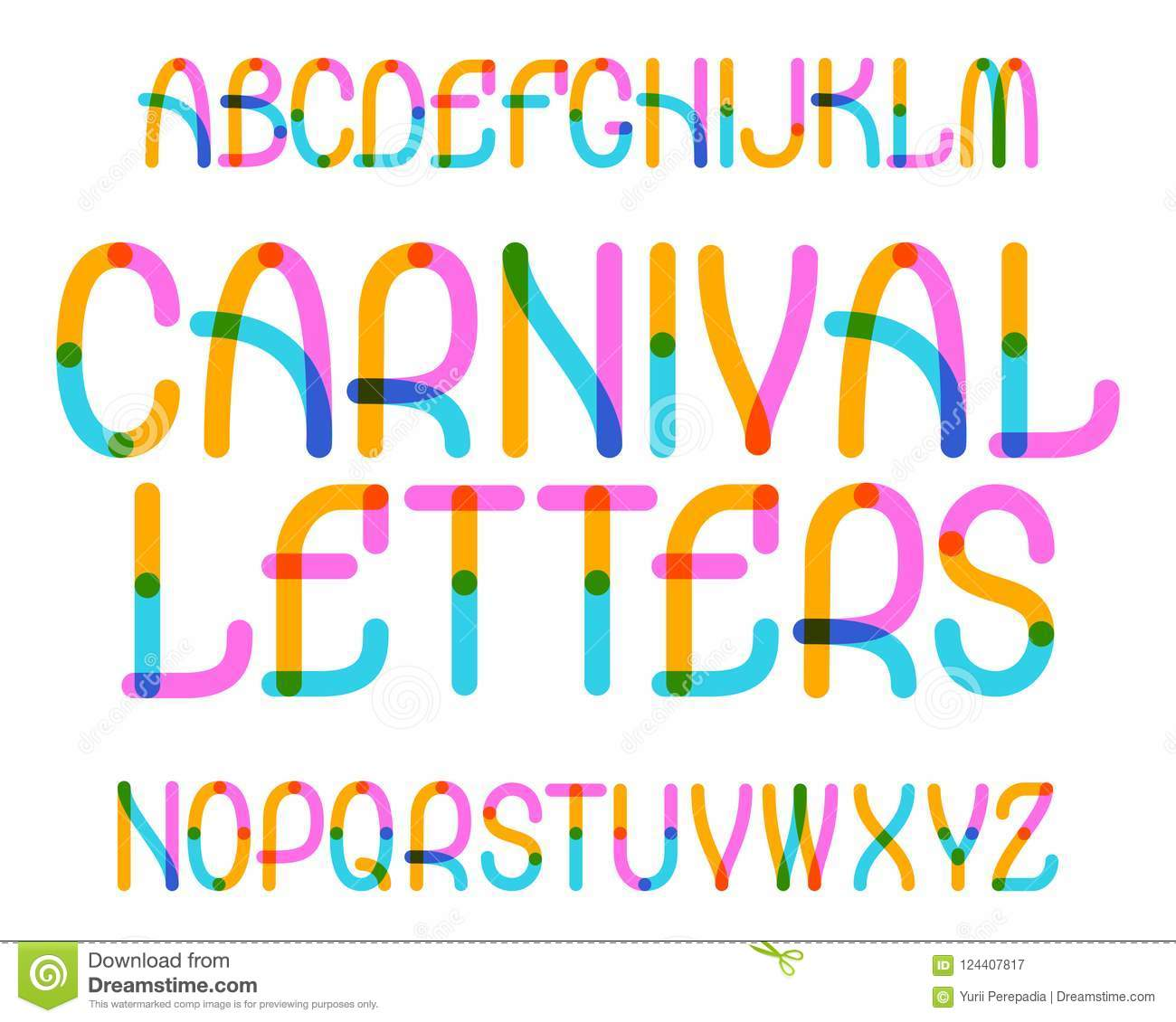 Carnival Letters Typeface Colorful Font Isolated English Alphabet