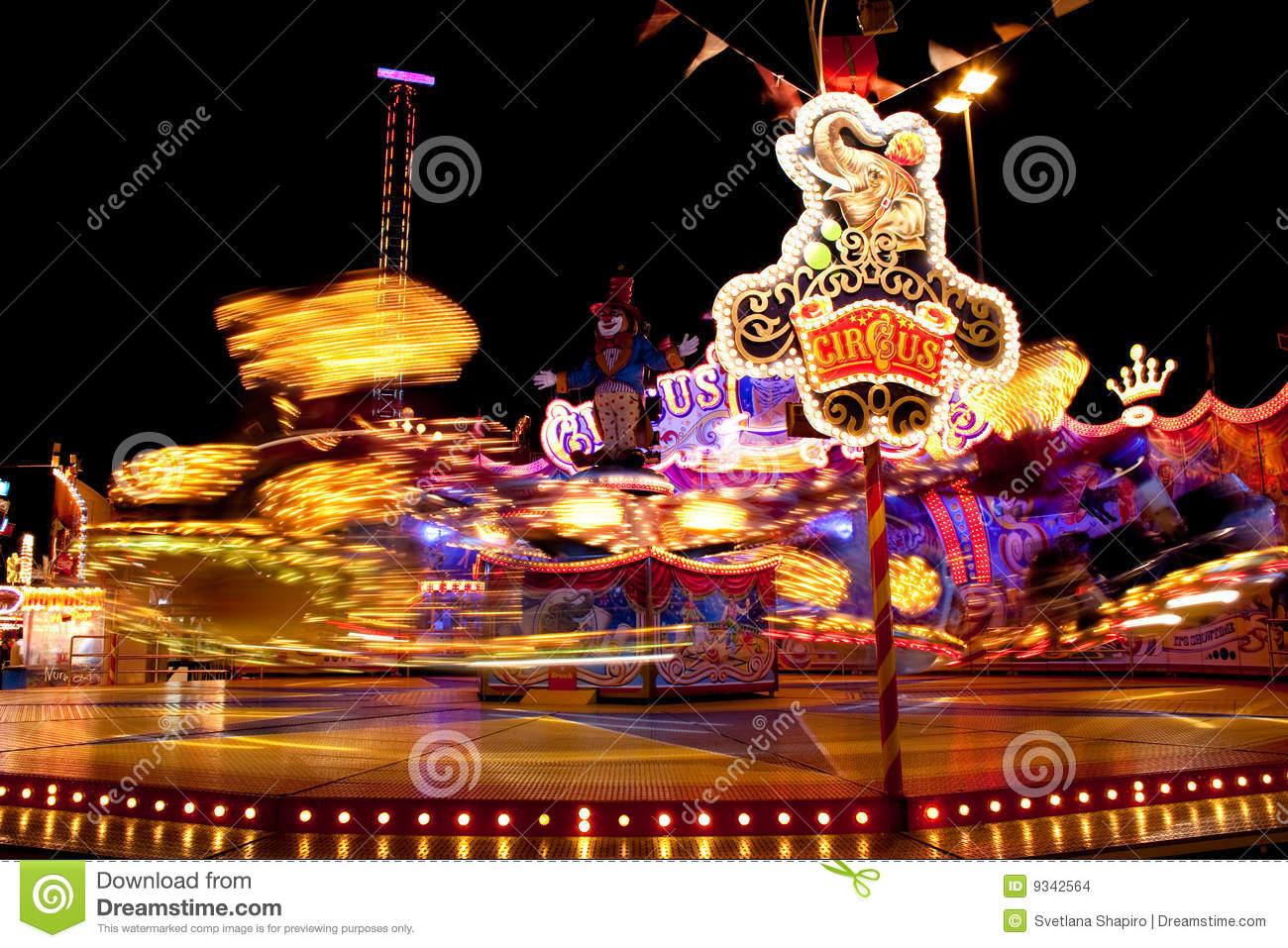 Carnival Lights At Night Stock Images Image 9342564