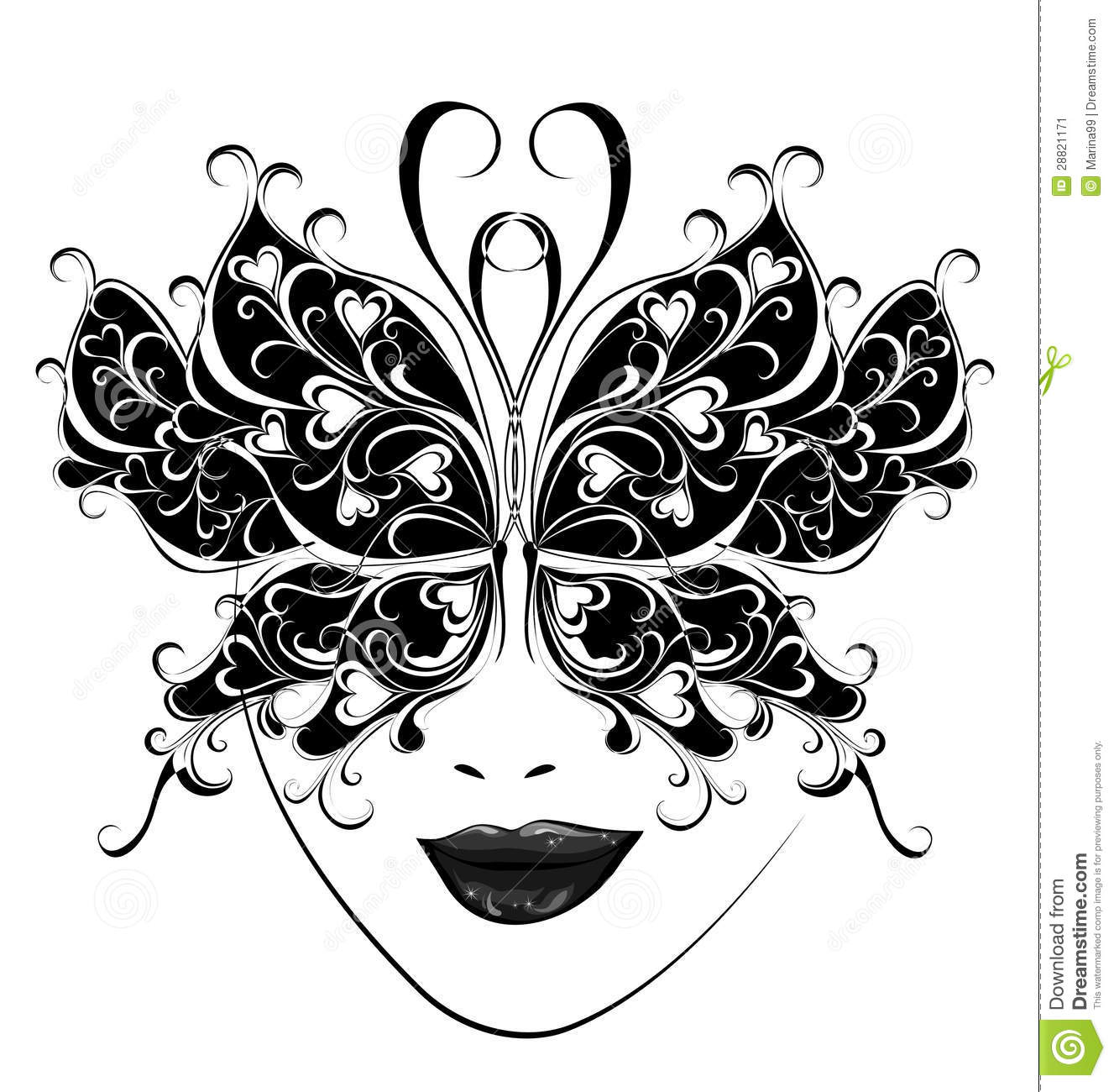 Venetian Mask Template. Carnival clipart party tent - Pencil and in ...