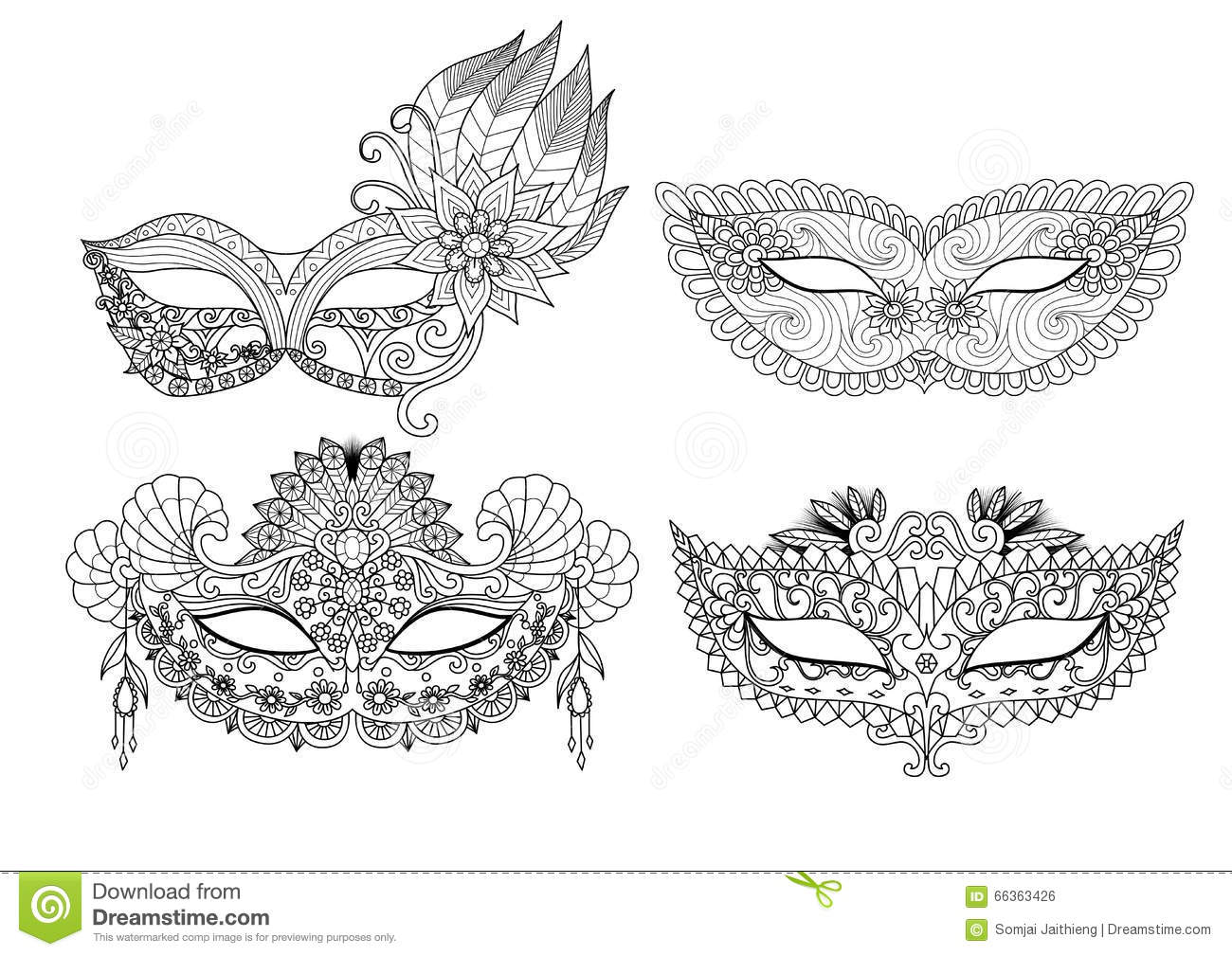 carnival mask designs for coloring book for stock vector