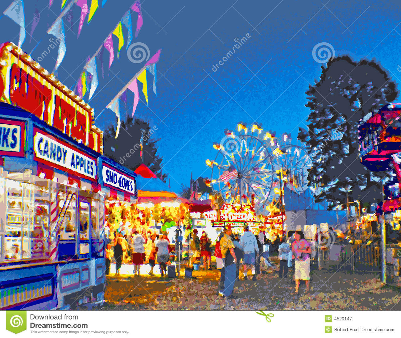 Carnival Midway at Twilight