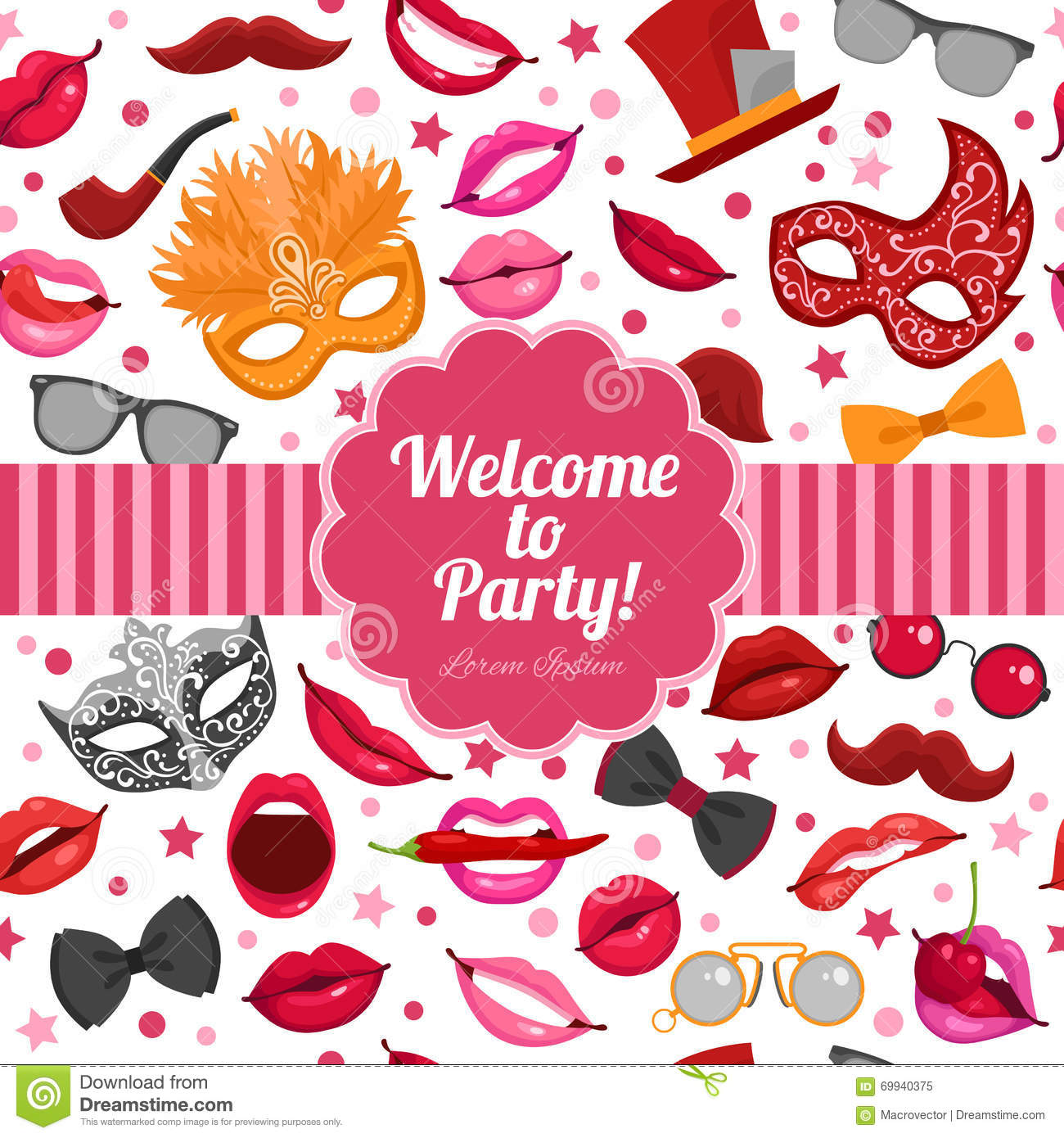 Carnival Party Invitation Festive Flat Poster Stock Vector - Image ...