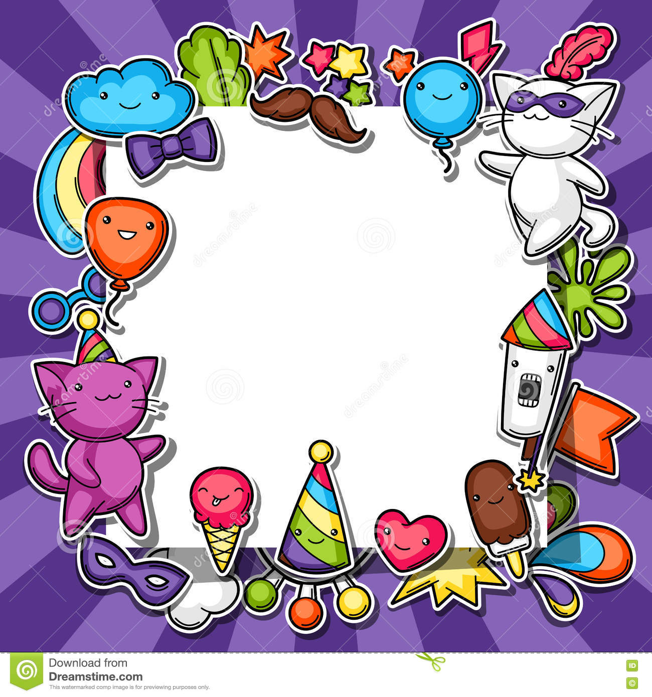 Carnival Party Kawaii Background. Cute Sticker Cats ...