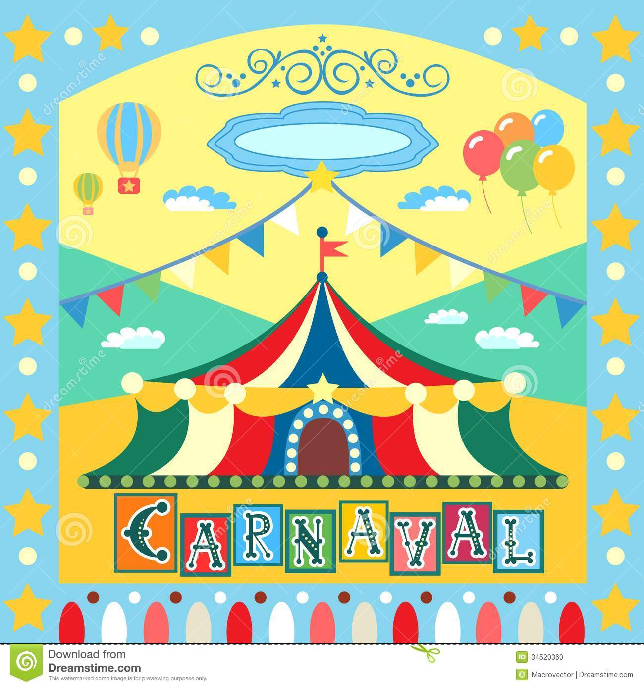 colorful carnival poster or card template vector illustration