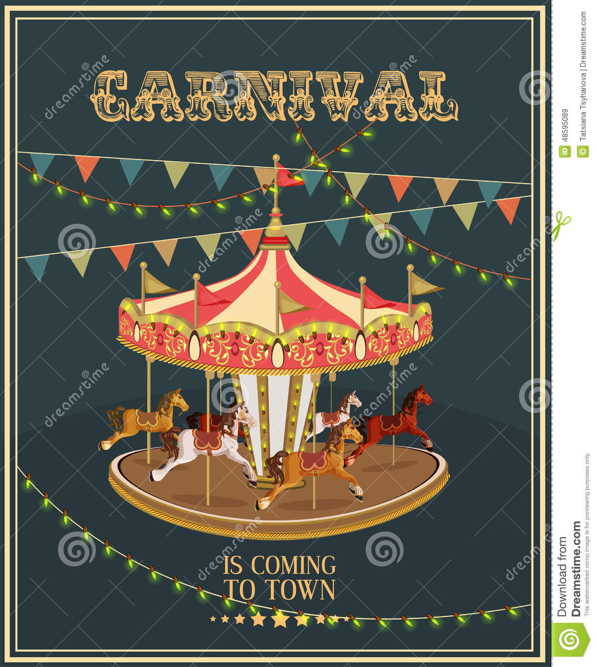 merry go round horse template - carnival poster with merry go round in vintage style