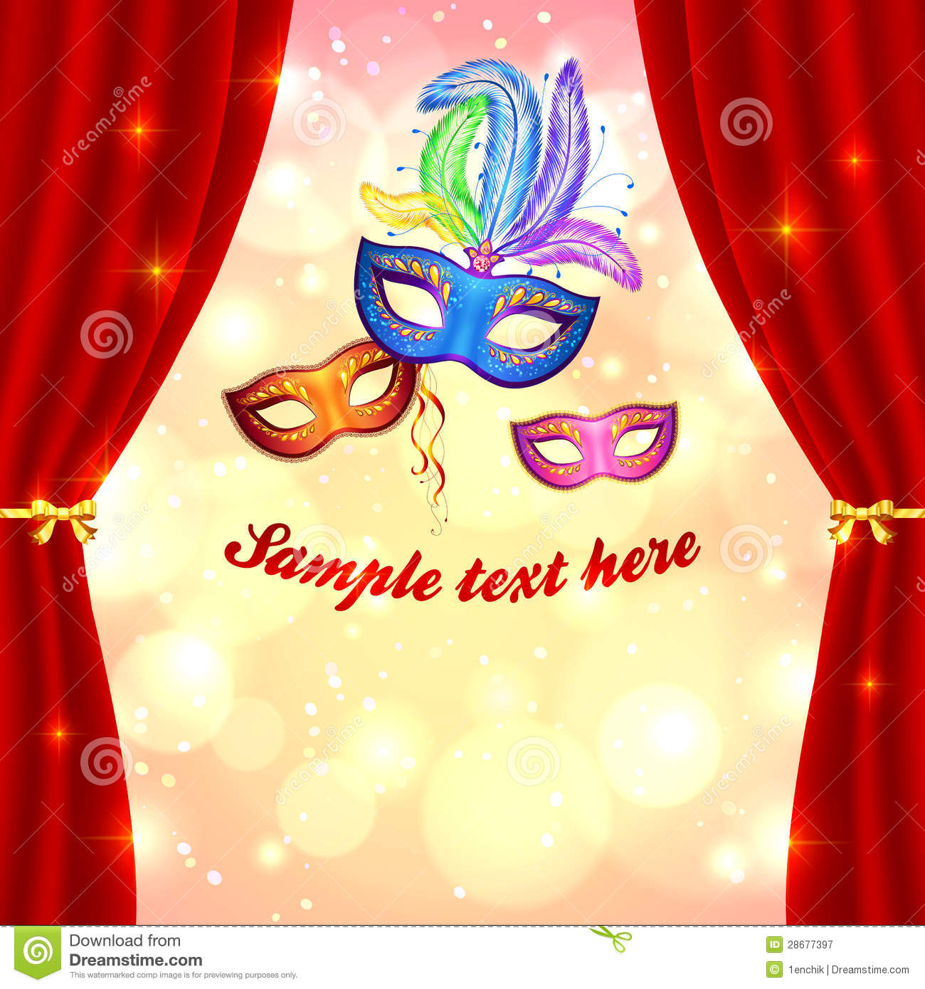 carnival poster template with masks and curtain stock