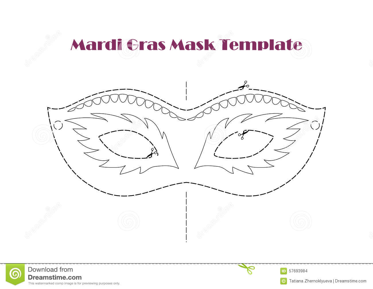Carnival prop mask template printable line vector stock vector carnival prop mask template printable line vector pronofoot35fo Choice Image