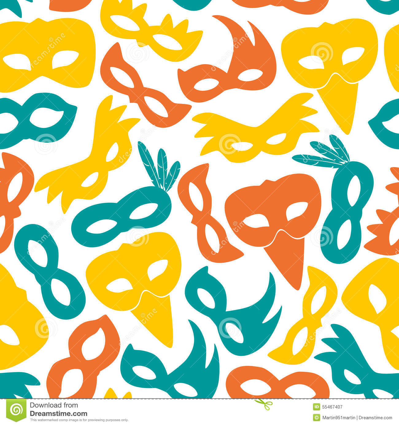 carnival rio color masks icons seamless pattern stock vector