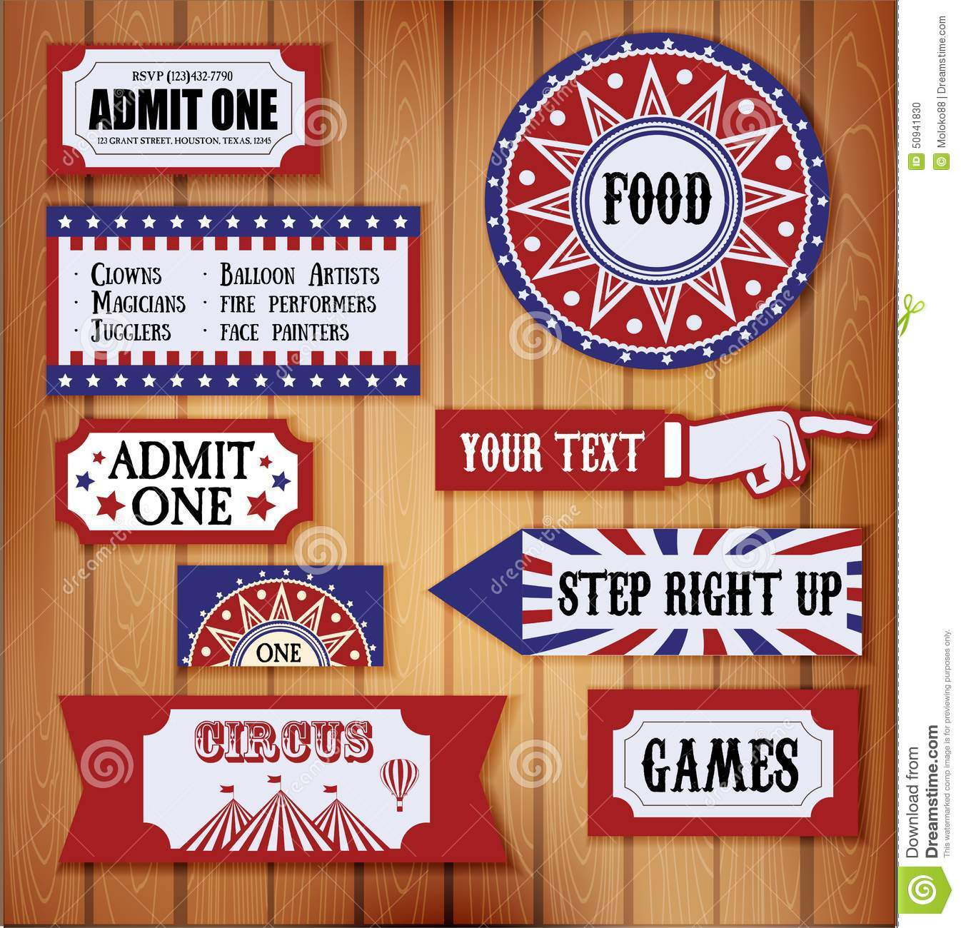carnival signs stock vector  illustration of monkey  card
