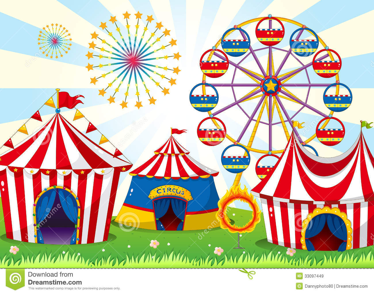 a carnival with stripe tents stock vector illustration of flame
