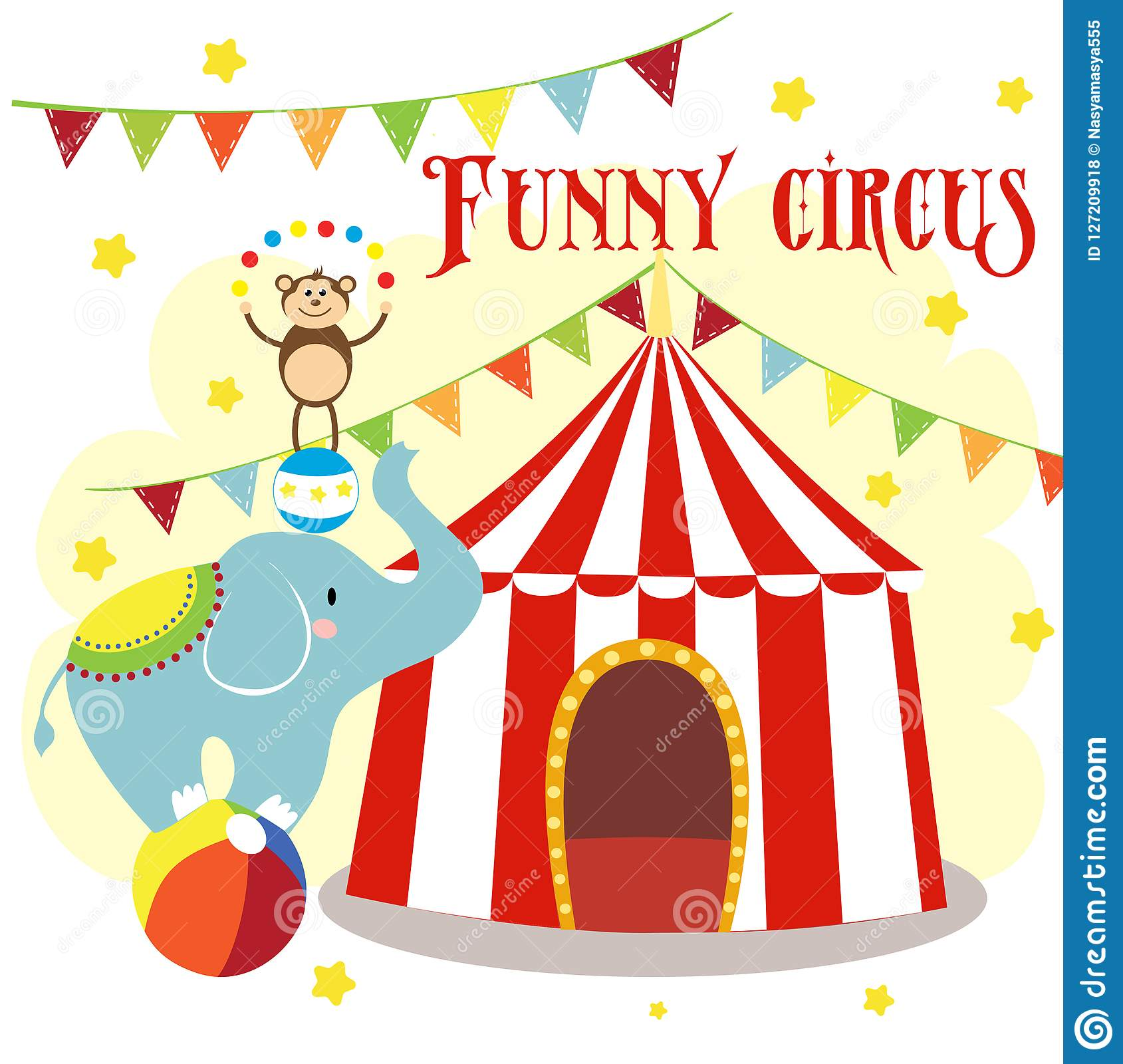 Carnival with striped tents, cheerful circus, elephant, lion and monkey.