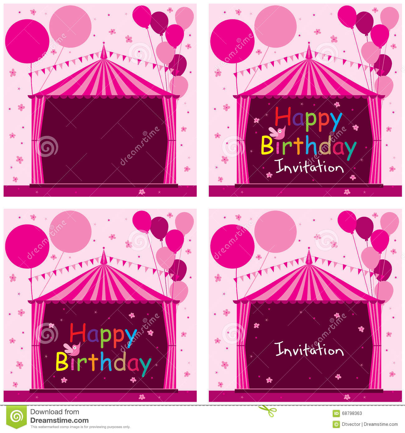 Carnival Tent Circus Pink Birthday Invitation Set Stock