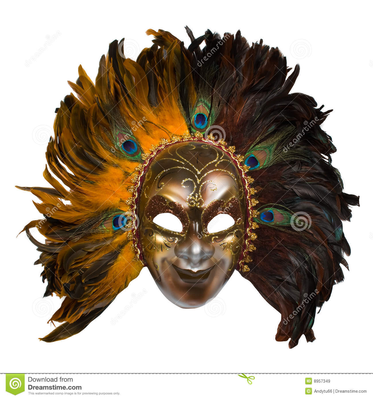 carnival venetian mask with peacock feathers stock image image of