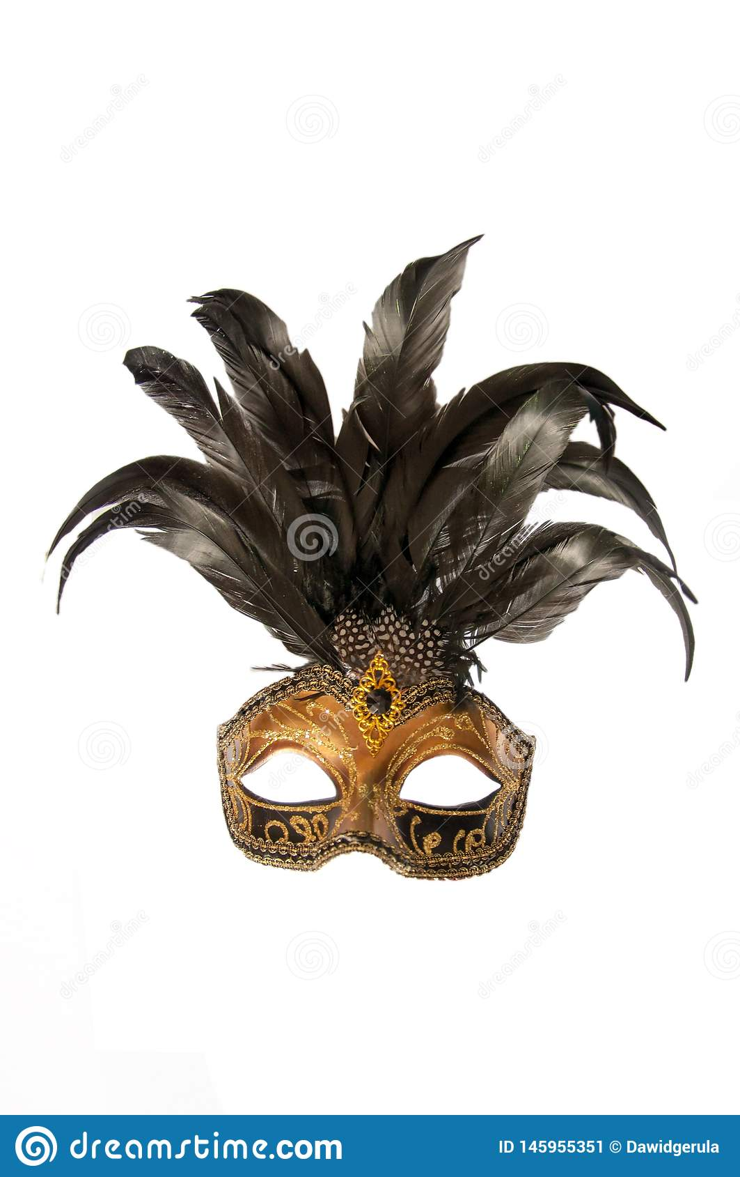 Carnival venice italy mask with black feathers