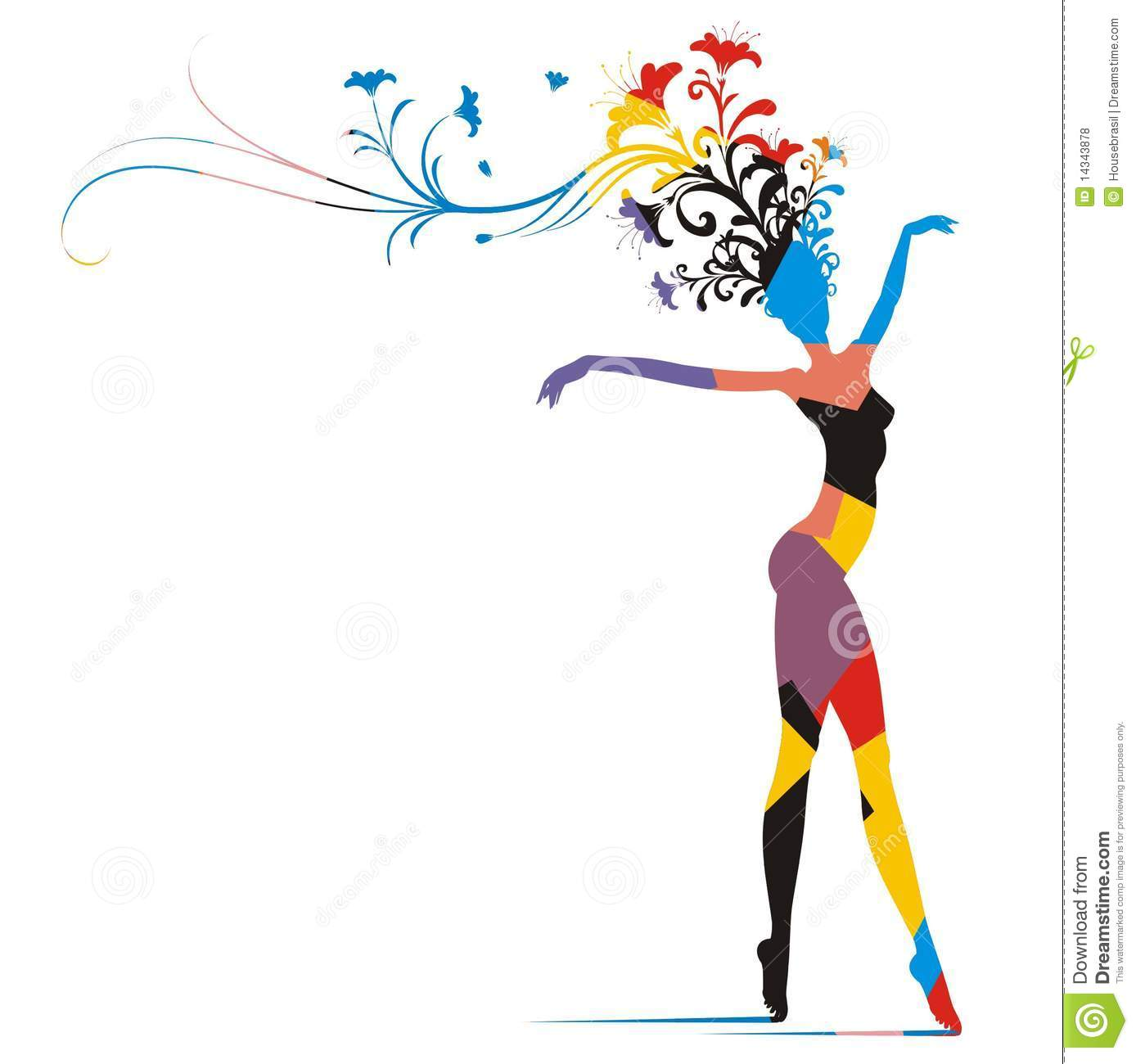 Carnival Woman Color Silhouette Stock Vector