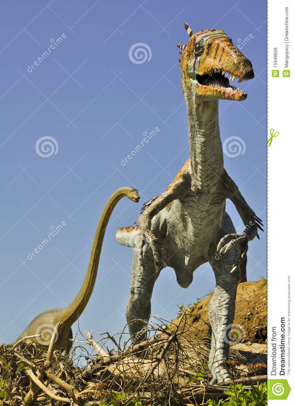 Carnivorous Syntarsus and giant Brontosaurus