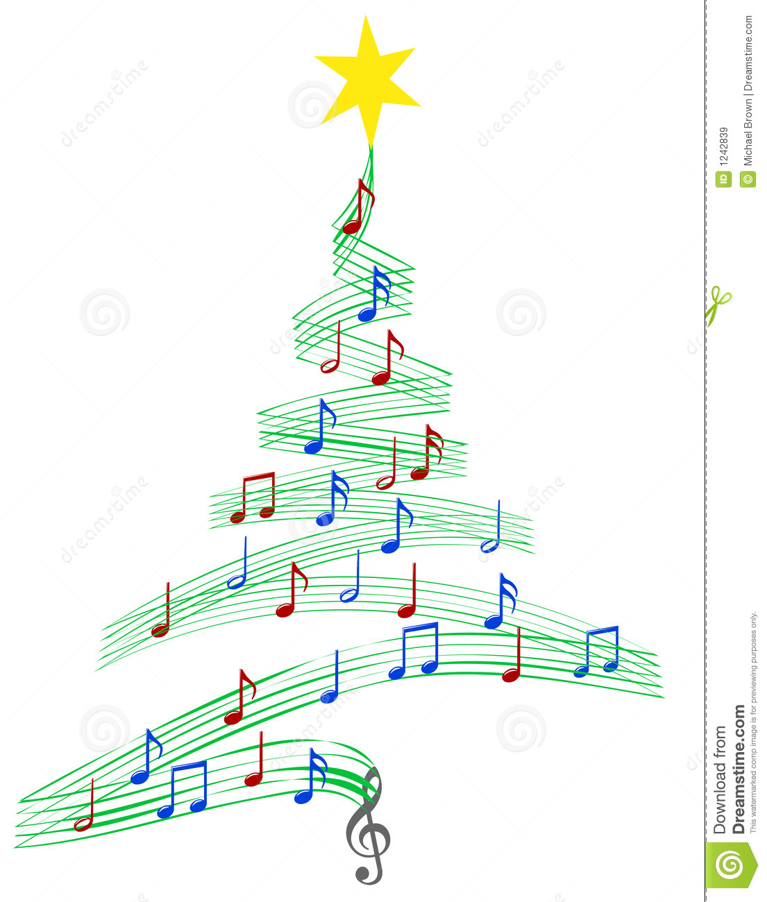 Christmas tree of Musical Notes symbolizing Christmas carols and ...