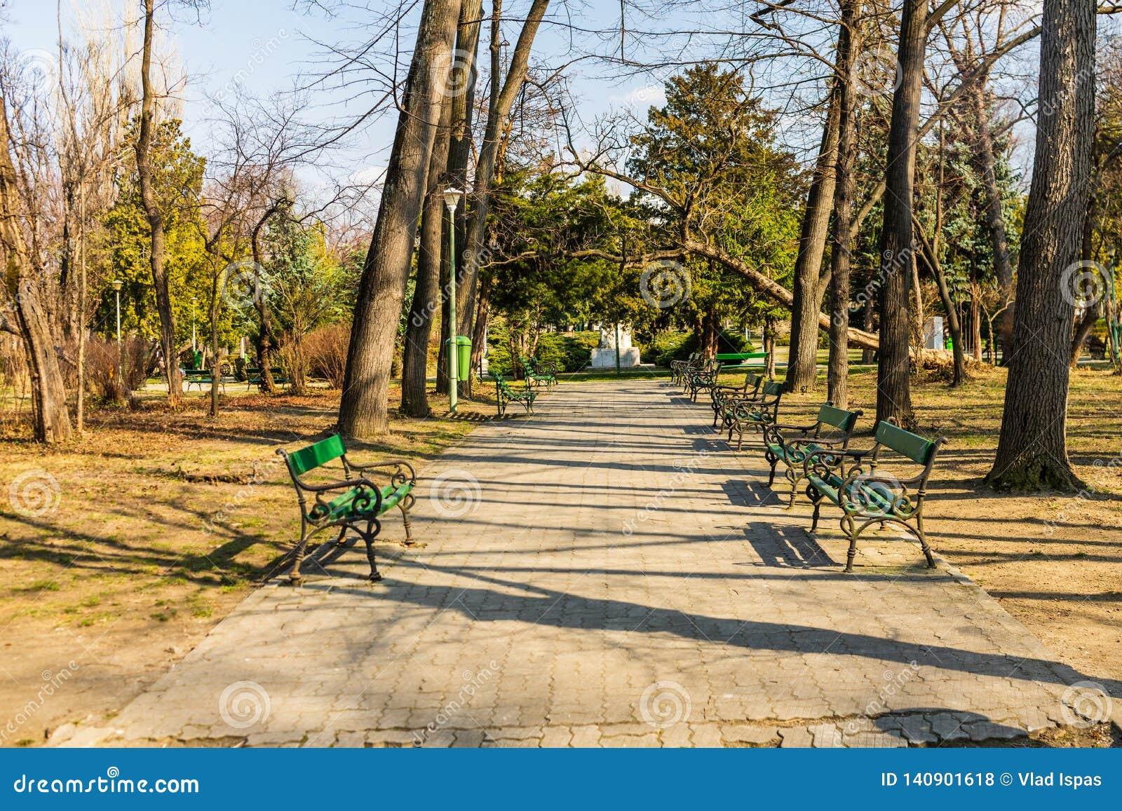 Carol Park in Bucharest, Romania. Empty alley