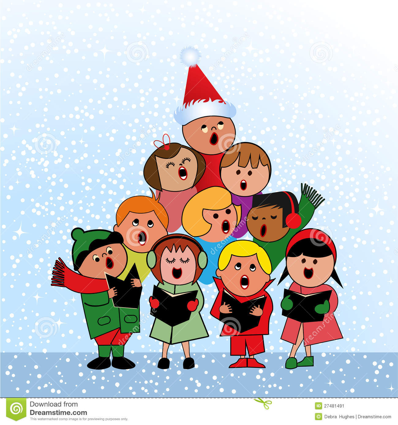 Joy And Noel Holiday Caroler: Carolers In Shape Of Christmas Tree Stock Vector