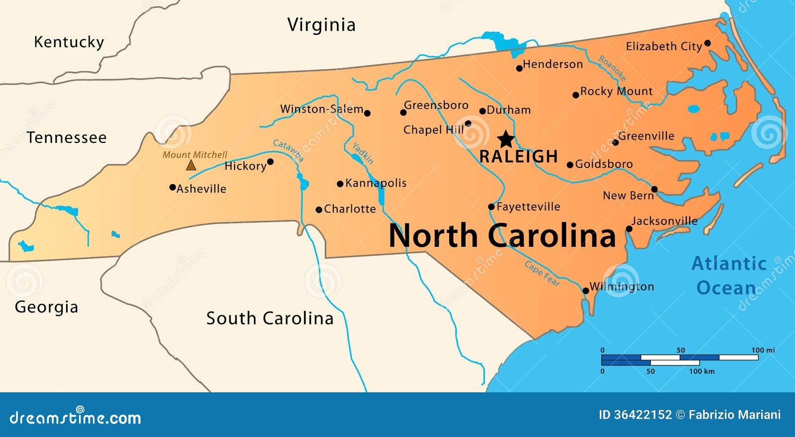 Carolina Del Norte Mapa.Carolina Eua Mapa