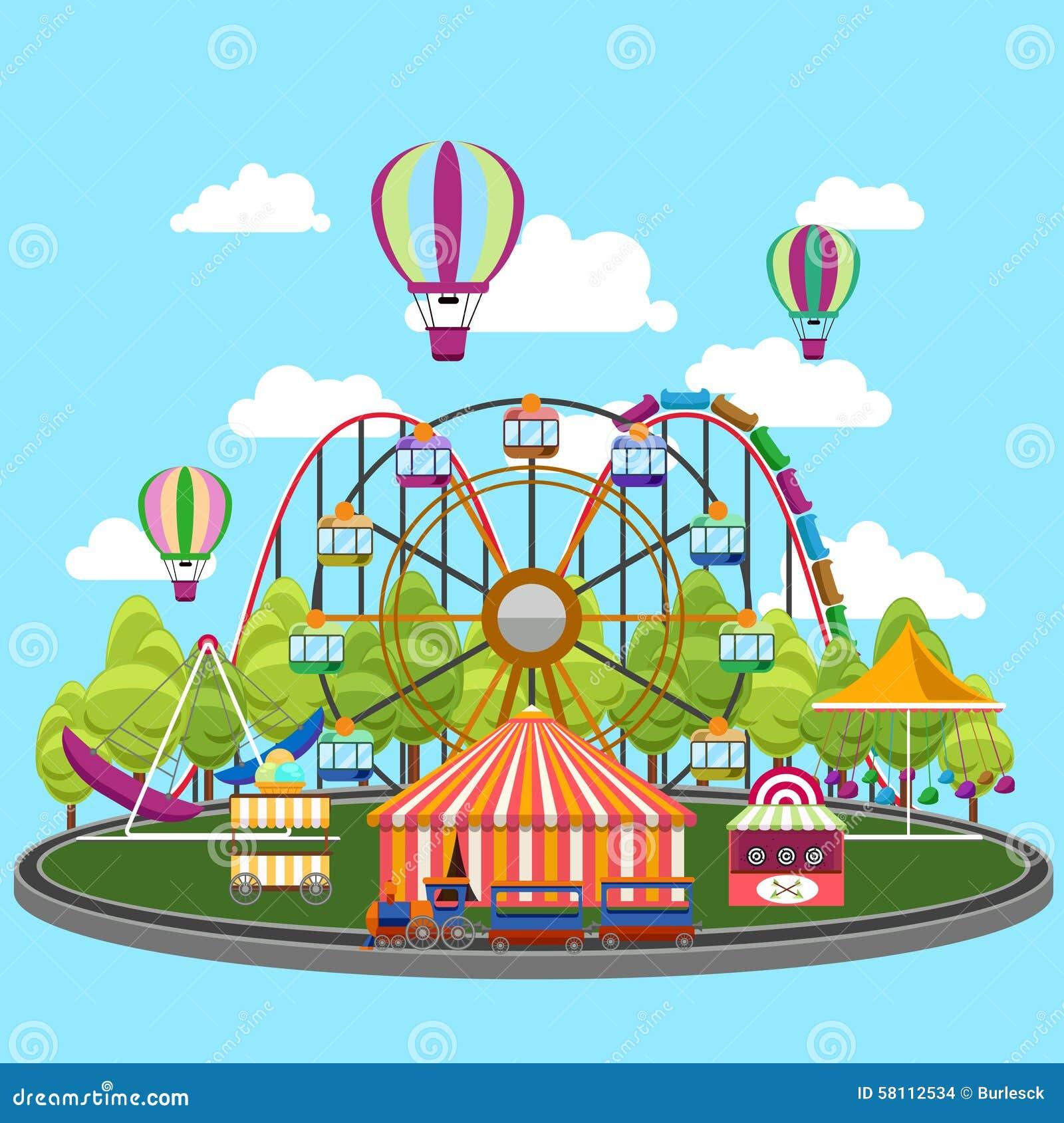 Carousel In Flat Design Stock Vector - Image: 58112534