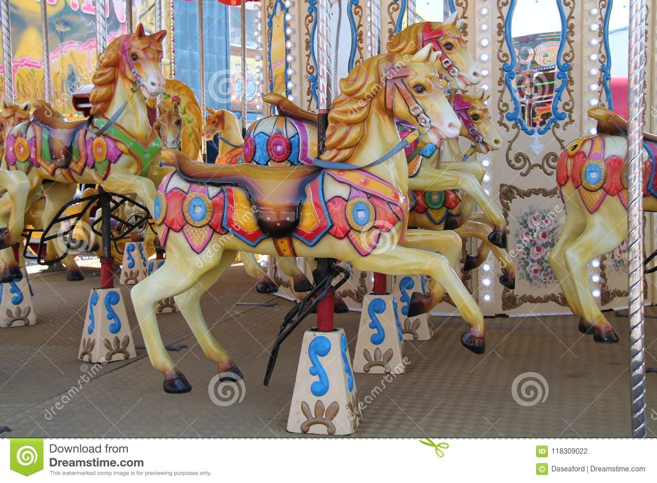 Download Carousel Fun Fair Ride. stock photo. Image of attraction - 118309022