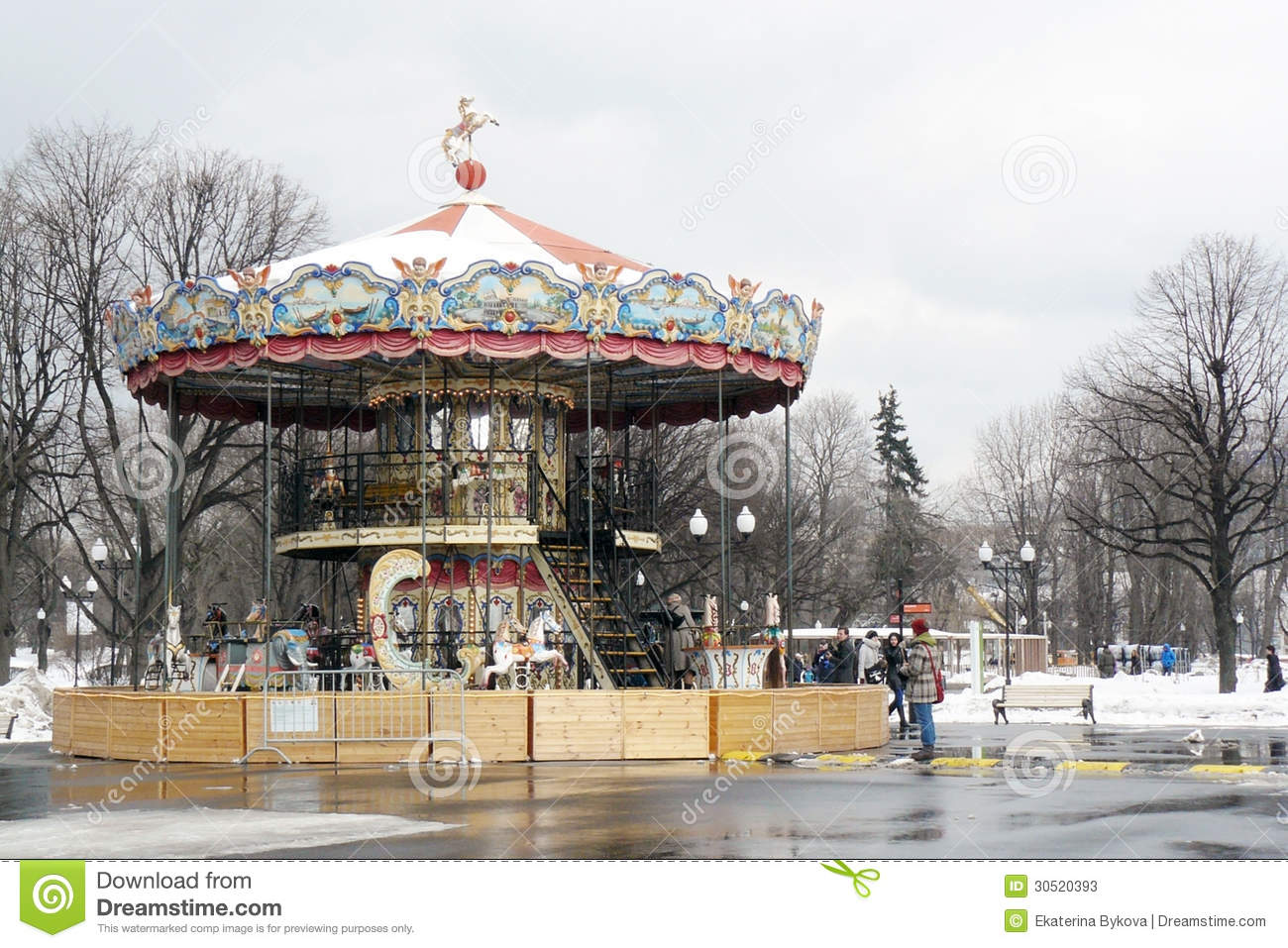 Carousel in the gorky park editorial stock photo image for Famous landmarks in russia