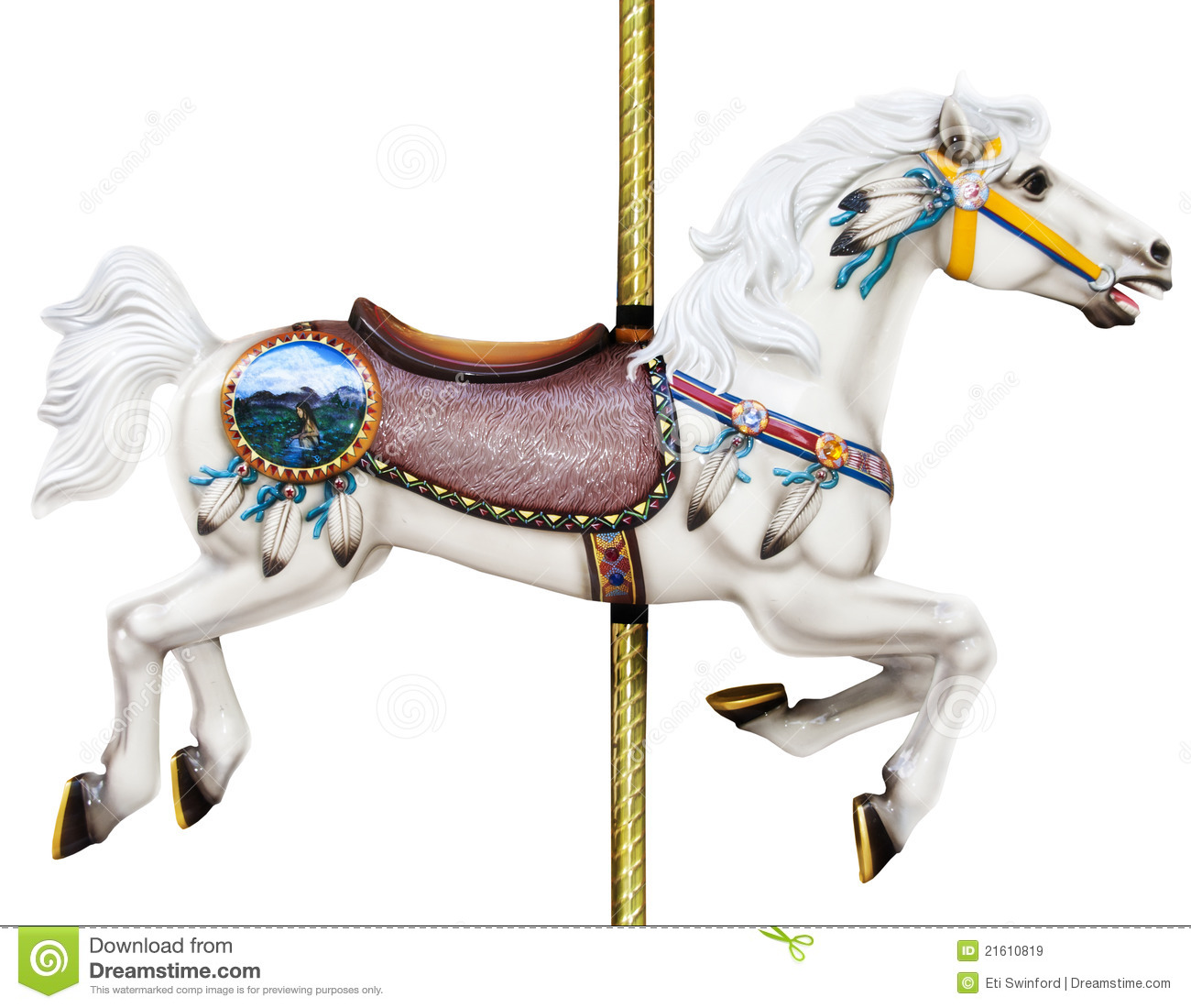 Carousel horse stock image image of golden horse pole for Merry go round horse template