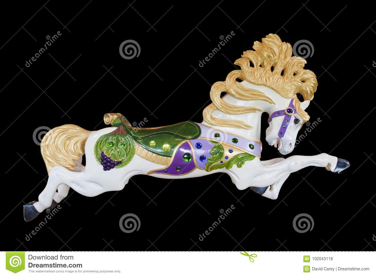 Carousel Horse Vivian On Black Background At Burnaby Village Museum Editorial Stock Photo Image Of Black Merry 102043118