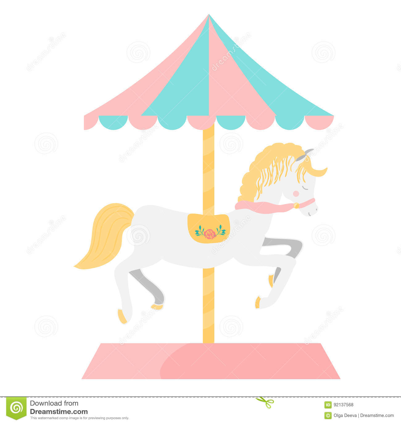 Carousel Horse Illustration Stock Vector Illustration Of Product Festival 92137568