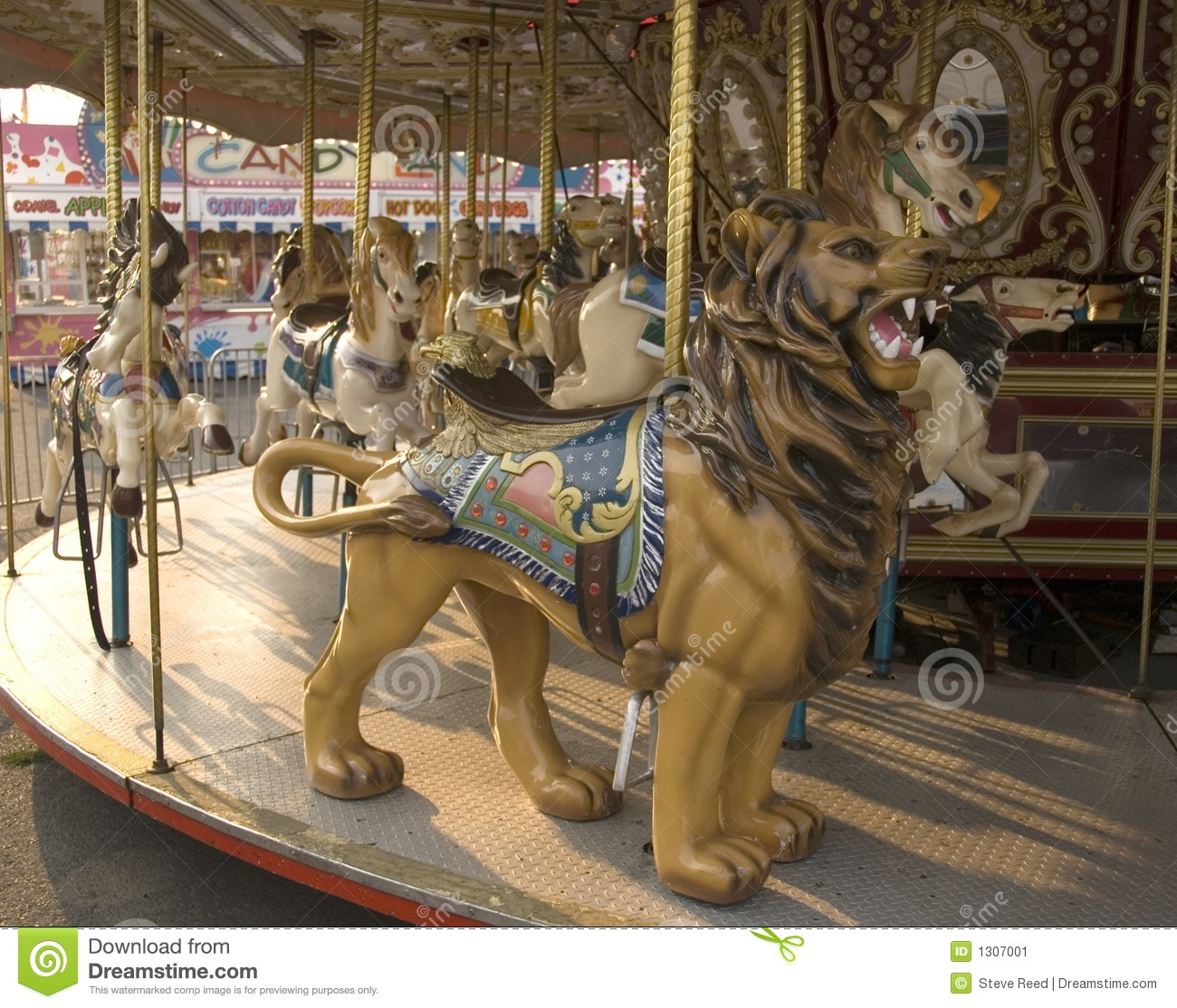 carousel horse and lion stock image