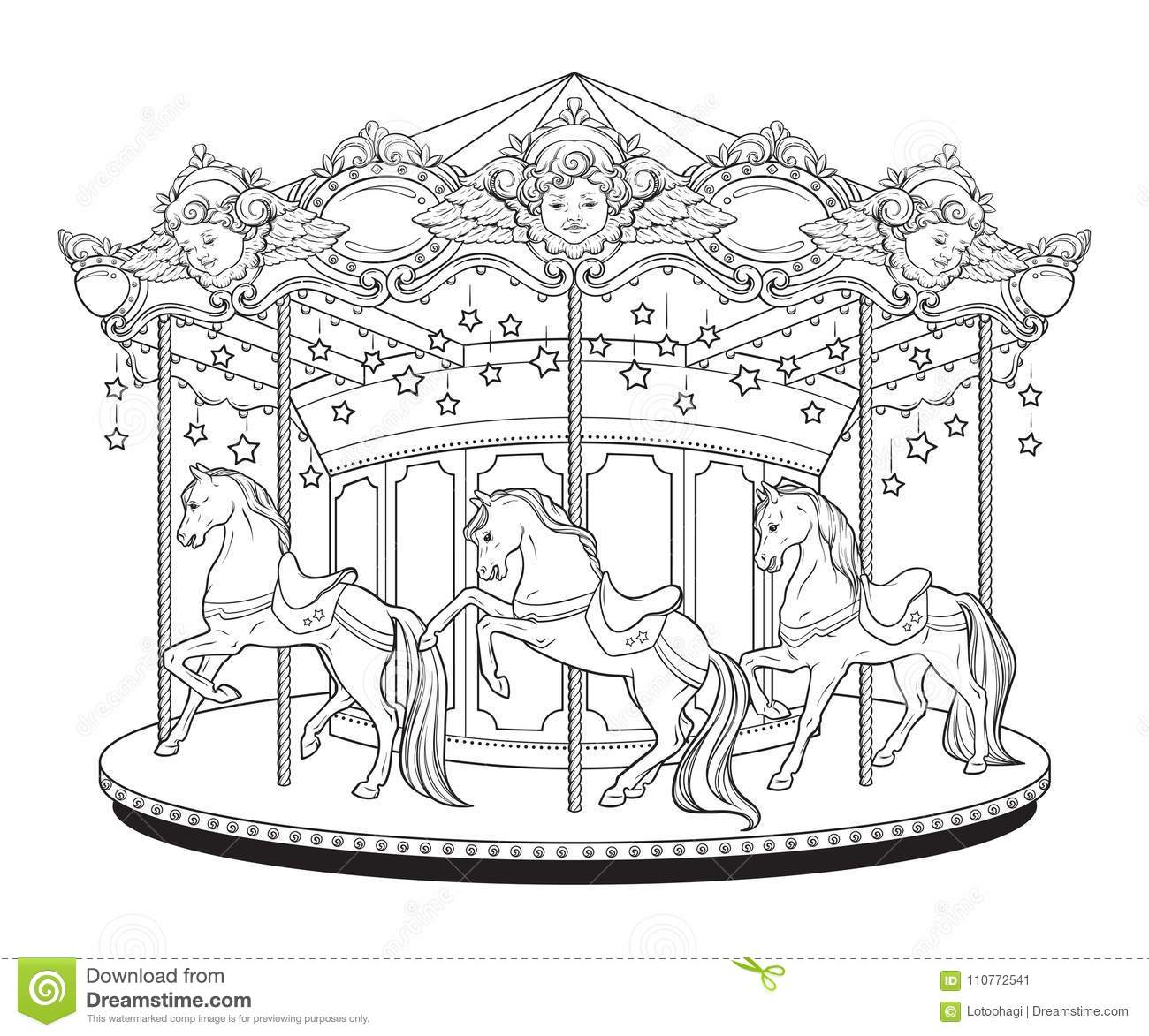 Carousel Cute Merry Go Round With Horses Coloring Book Pages For Kids And Adults Hand Drawn Vector Illustration Stock Vector Illustration Of Lights Cherubim 110772541
