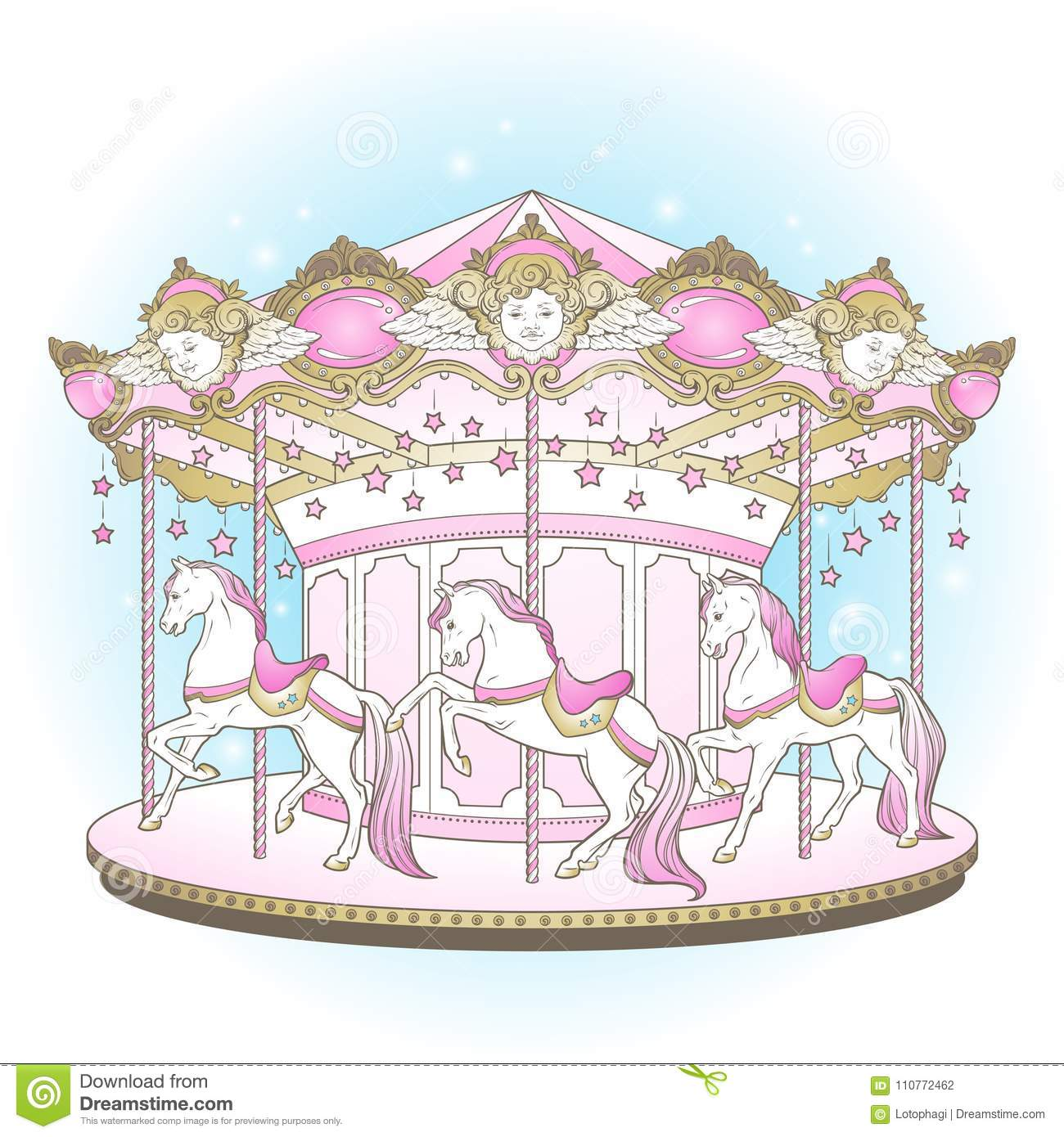 Carousel cute merry go round with horses design for kids in pastel colors hand drawn vector illustration