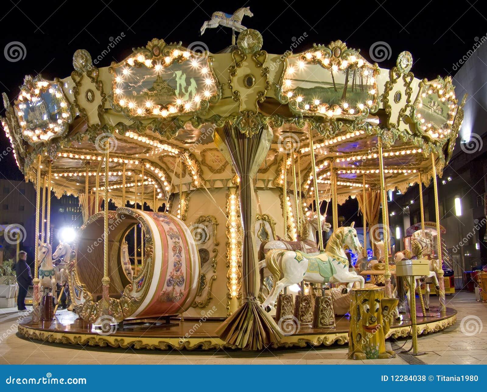 Carousel At Night Royalty Free Stock Photos - Image: 12284038