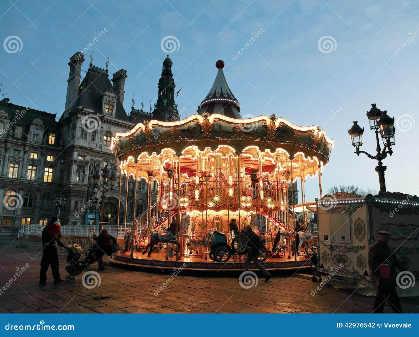 Carousel At Place De Hotel De Ville In Paris Editorial