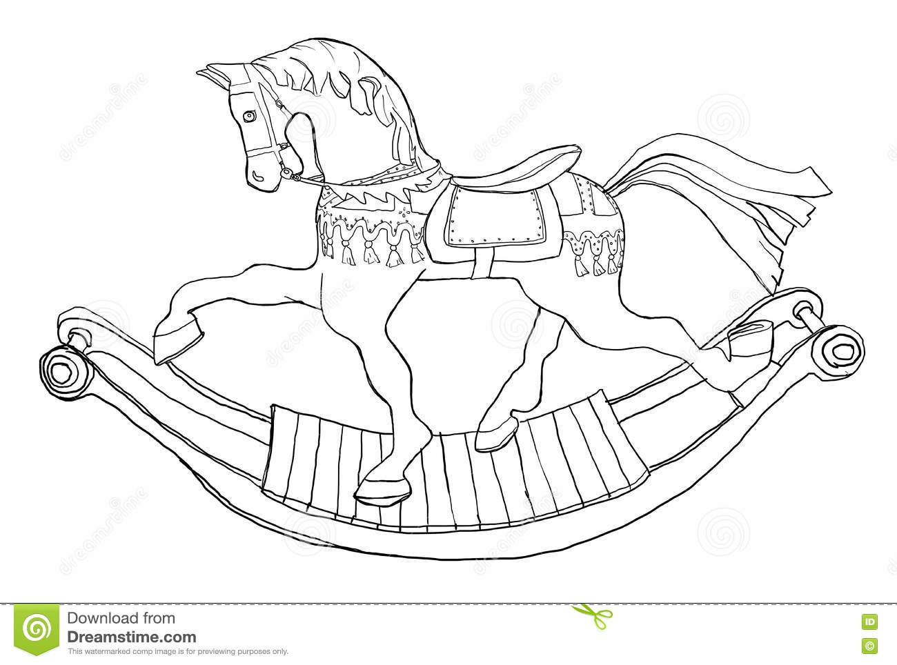 Carousel Rocking Horse Line Art Stock Illustration Illustration Of Abstract Artistry 71287159