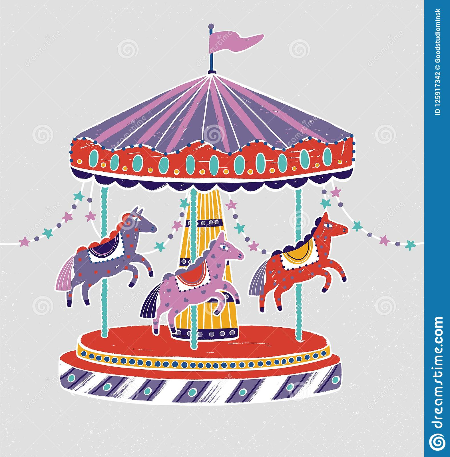 Carousel, Roundabout Or Merry-go-round With Adorable