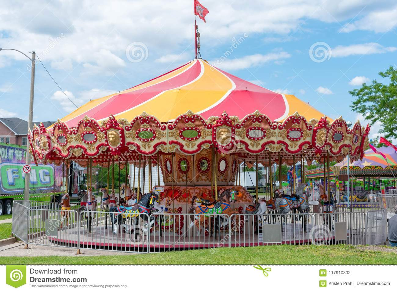 traveling carnival carousel arriving in town stock photo image of