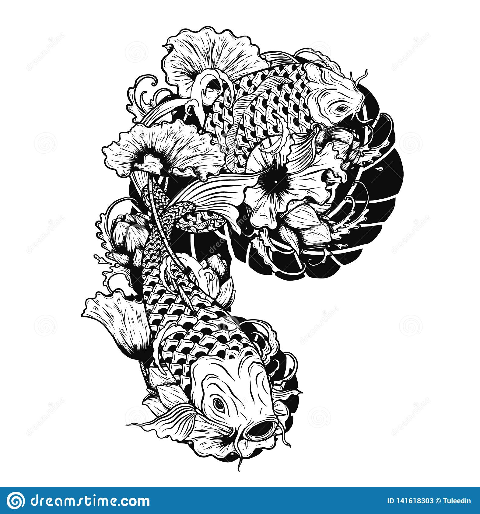 Tattoo Art Black And White: Carp Fish With Lotus Vector Tattoo By Hand Drawing Stock