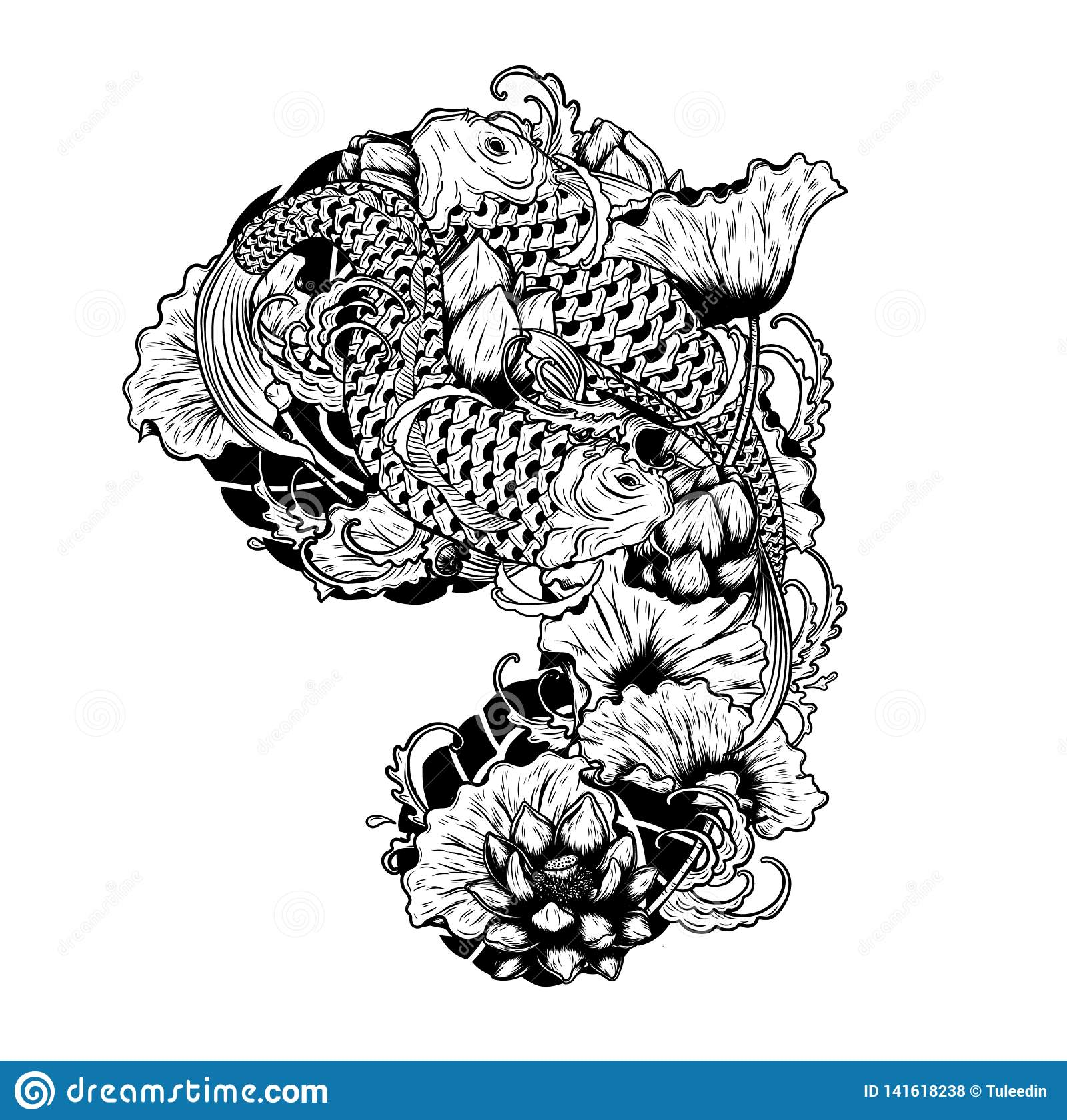 a17e044a01cd2 Carp Fish With Lotus Vector Tattoo By Hand Drawing Stock Vector ...