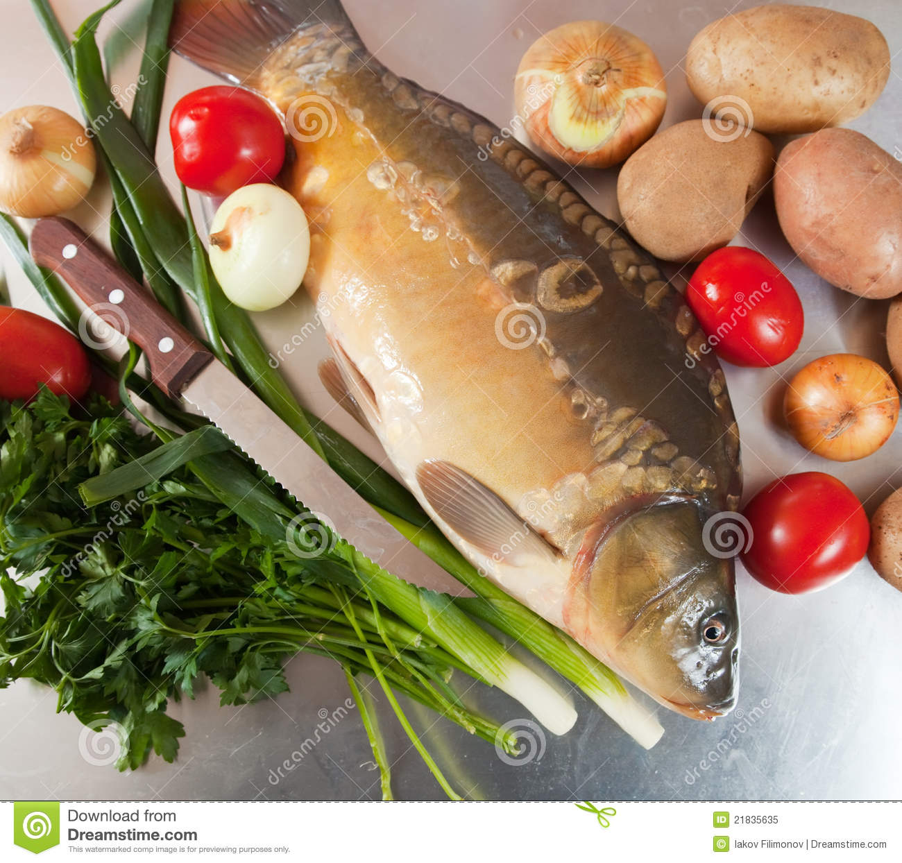 Carp fish with vegetables royalty free stock photo image for Fish with vegetables
