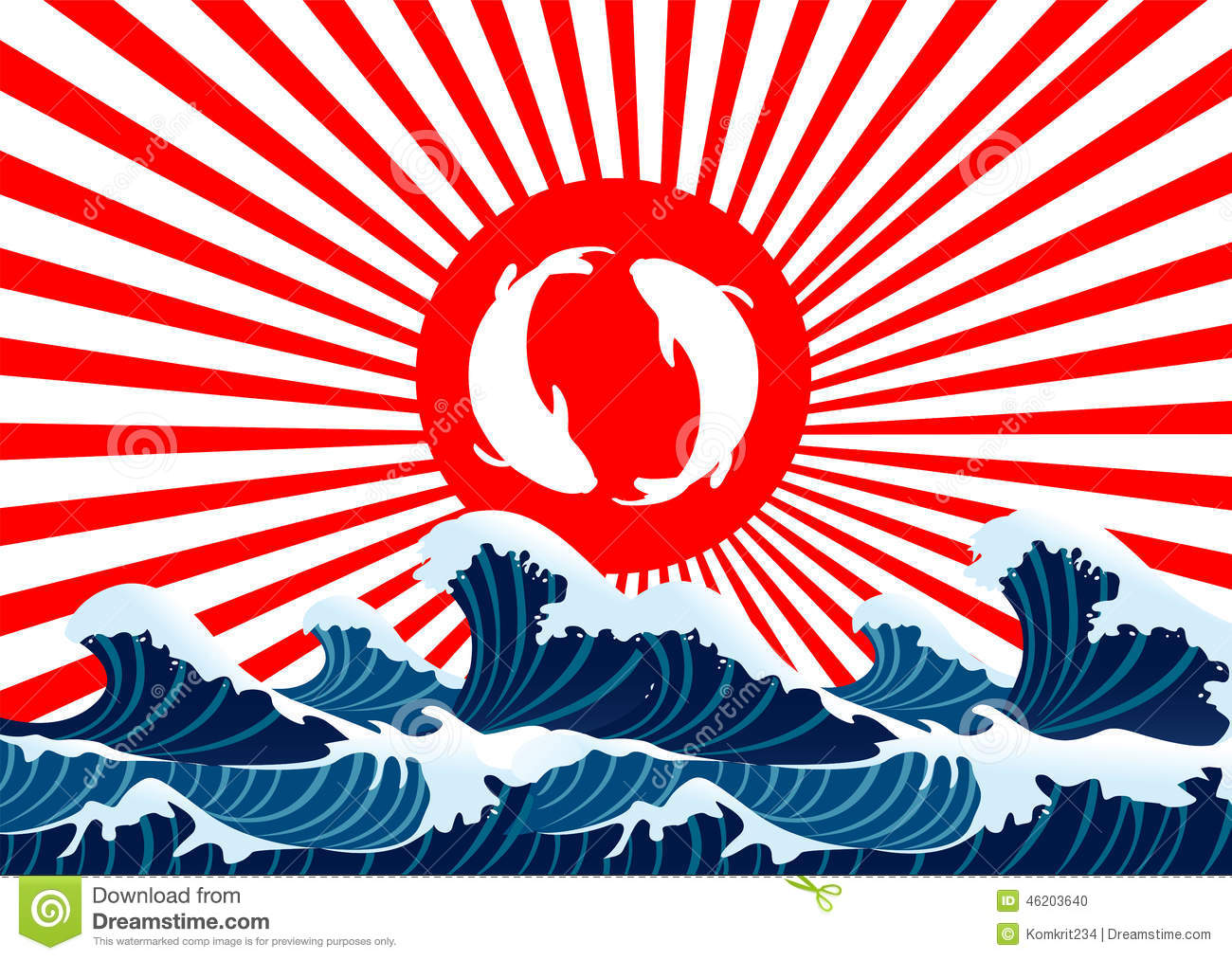 Carp fish yin yang on red flag japanese stock vector for Japanese fish flag