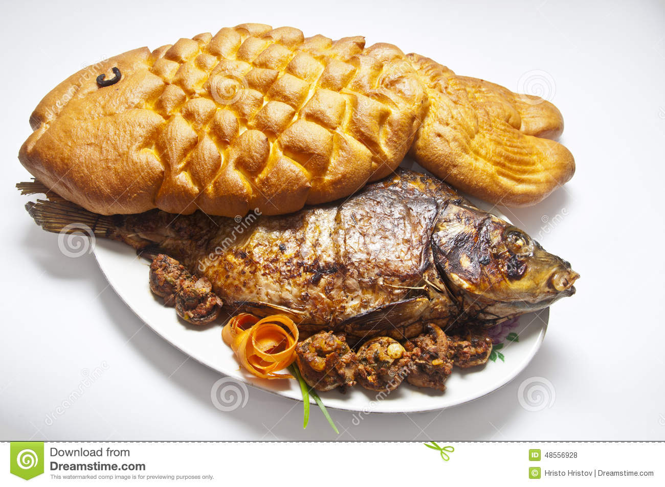 Carp stuffed with bread in the form of fish stock photo for How to bread fish