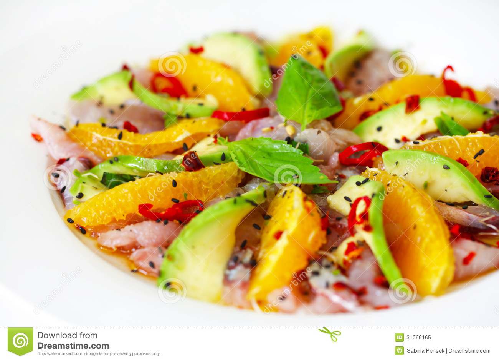 Carpaccio de salade de poisson cru avec l 39 avocat et les for Salade pour accompagner poisson
