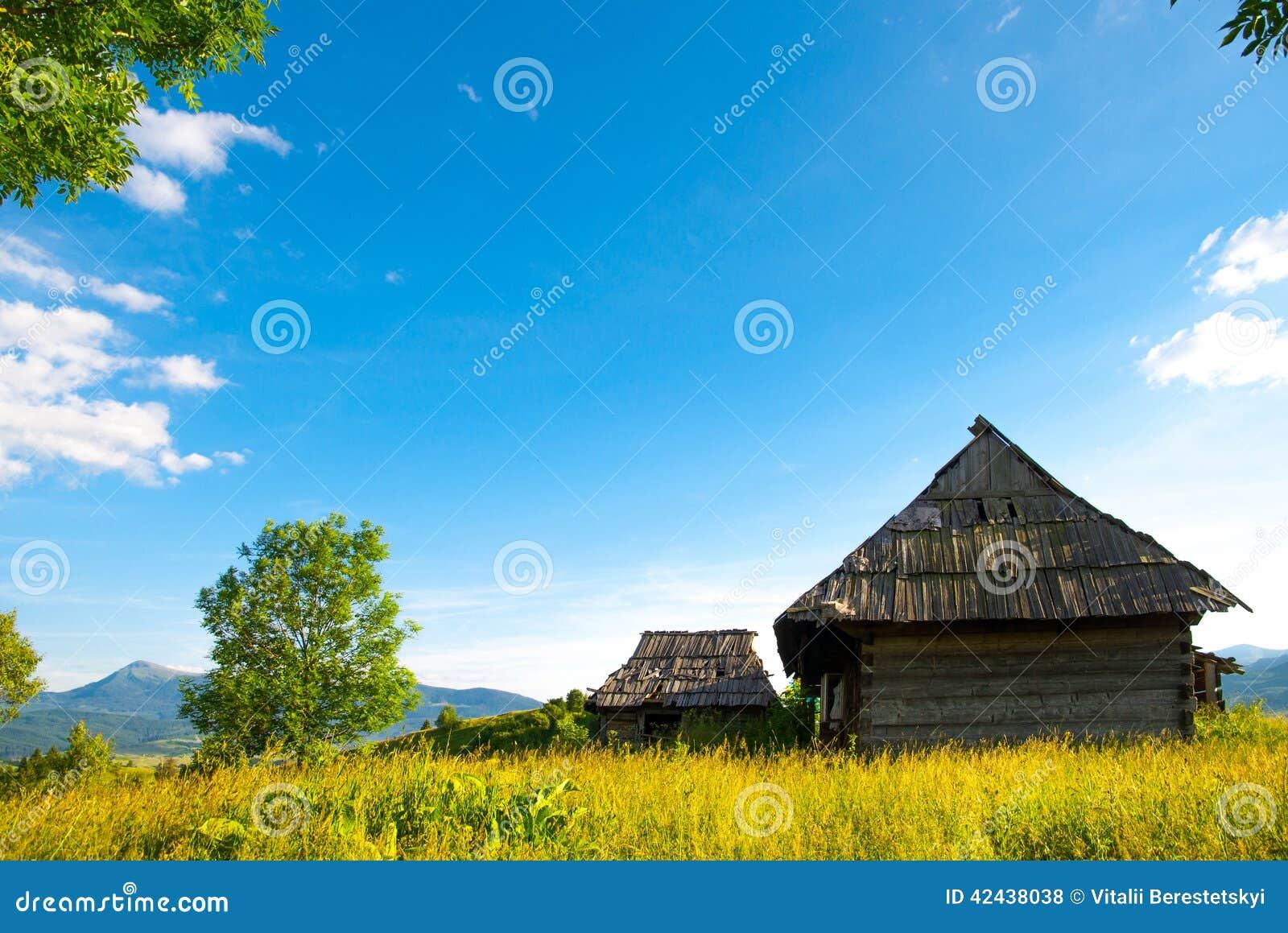 Carpat cárpato idílico del panorama del prado de la montaña del verano del chalet