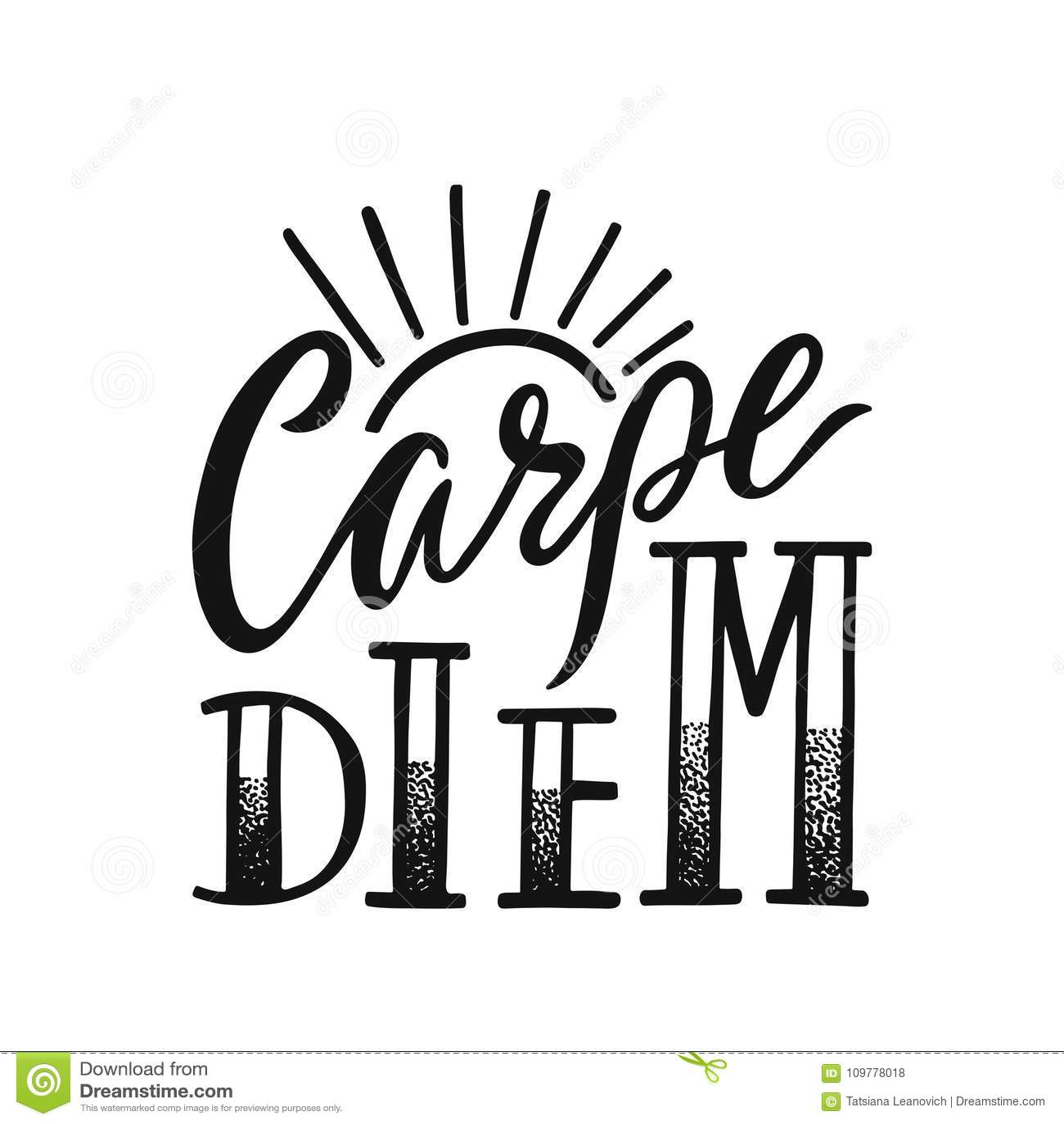 36dc82d9a19c Carpe diem - τα λατινικά μέσα φράσης αδράχνουν την ημέρα Συρμένο χέρι  εμπνευσμένο διανυσματικό απόσπασμα για