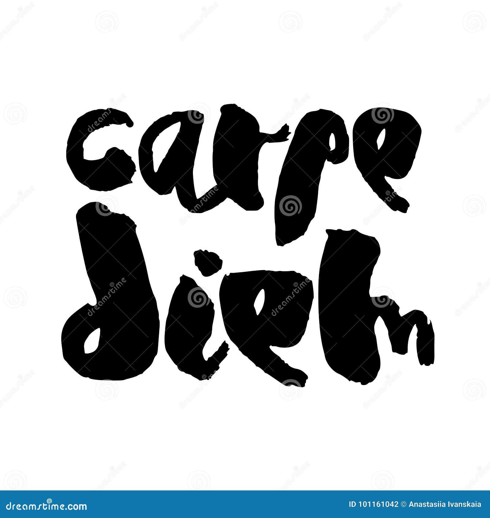 Carpe Diem Handdrawn Lettering Stock Vector Illustration Of
